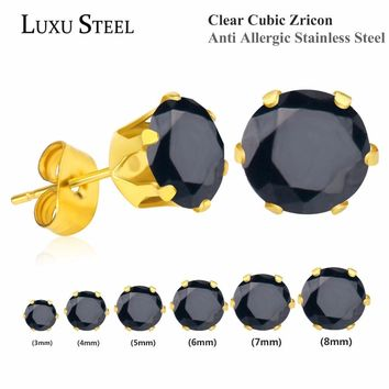 Pendientes Mujer Stainless Steel Gold/Silver Black Color Round Crystal Stud Earring Fashion 6Pairs/Boxes Earring Set