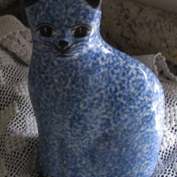 N.S. Gustin Co Hand Painted Made in USA Vintage Blue Sponge Ware Kitty Kat Figurine, Shabby Chic Kitty, Shabby Chic Home Decor