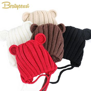 Knitted Winter Baby Hat with Ears Cartoon Lace-up Children Kids Baby Bonnet Cap for 1-3 Years 5 Colors