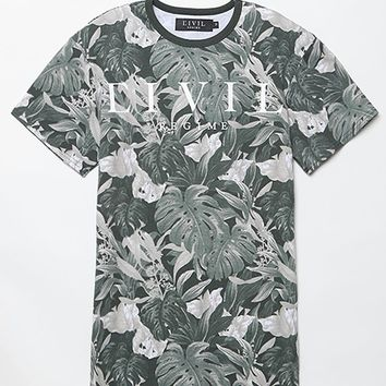 Civil Tonal Floral Print T-Shirt - Mens Tee - White