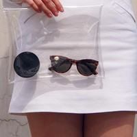 Clear Envelope Clutch Purse Bag / White Transparent from EastWorkshop