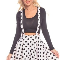 OFF WHITE BLACK POLKA DOTS SUSPENDER A-LINE SKIRT