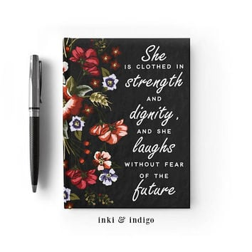 Writing Journal, Personalized Notebook, hardcover sketchbook, black floral, Blank or Lined pages - She Is Clothed In Strength And Dignity