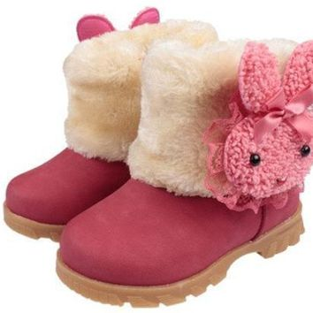 Baby Girls Infant Toddler Winter Fur Shoes Snow Boots Rabbit For 9 30 Months Baby = 1931503428