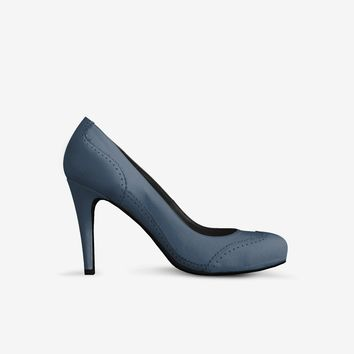 Levi Thang British High Heel Italian Leather Shoes Blue