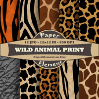 Animal Print Digital Paper Pack - Safari Digital Scrapbook Paper with Tiger, Leopard, Zebra, Giraffe, Elephant, Cheetah Prints
