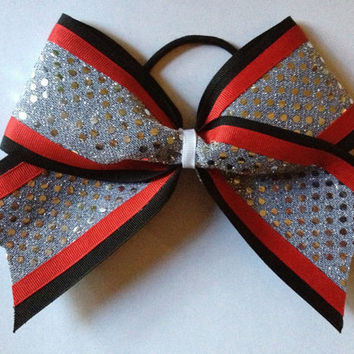 Black and Red Cheer Bow with Silver Sequins