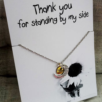 Thank You for Standing by My Side Love you to the Moon and Back Daughter Holiday Gift Woman Jewelry Pendant Necklace