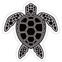 Green Sea Turtle Design - Black