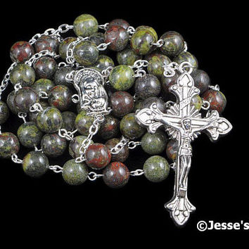 Catholic Rosary Beads Red Green Dragon Blood Silver Natural Stone Traditional Jasper Rosary Five Decade Catholic Gift
