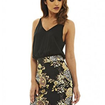 Black Sleeveless Top and Metallic Floral Skirt 2 in 1 Dress