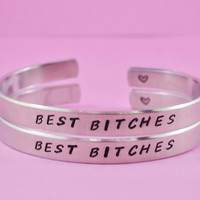 BEST BITCHES - Hand Stamped Aluminum Cuff Bracelets Set, Handwritten Font, Forever Love, Friendship, BFF, V2
