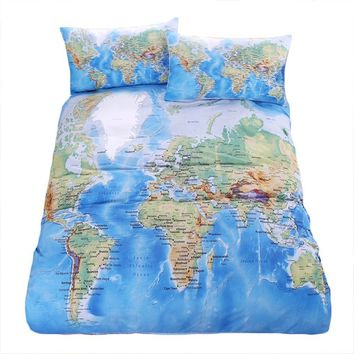 Bedding Outlet World Map Bedding Set Vivid Printed Blue Bed Duvet Cover With Pillowcases Soft Microfiber Home Textiles