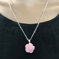 Pink Rose Flower Pendant Necklace