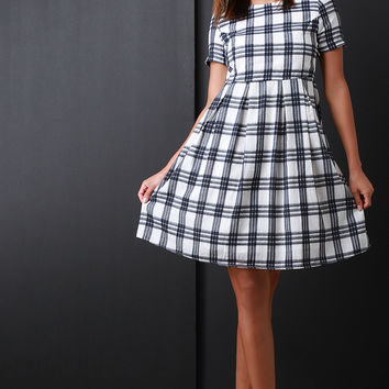 Plaid Short Sleeve Babydoll Dress