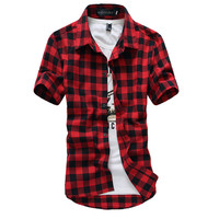 Red And Black Plaid Shirt Men Shirts 2015 New Summer Style Fashion Chemise Homme Mens Dress Shirts Short Sleeve Shirt Men Cheap