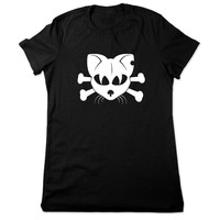 Funny Cat Shirt, Funny Animal Shirt, Cat T Shirt, Gothic Cat Tshirt, Animal Tshirt, Skull Crossbones Funny Tee, Ladies Women Plus Size