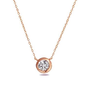 Solitaire Pendant Necklace .925 Sterling Silver Rose Gold Tone Bezel Set 6mm CZ Stone FREE Box