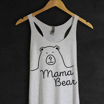 Mama Bear Tank Top in Heather White-Mother T-shirt - Cute Design - Kids Family Gifts Presents for Mom Mommin - Hand drawing-Cup of tee