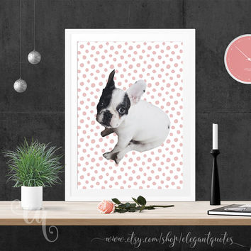 Wall art decor white and black little french bulldog puppy dog on rose quartz dots giclée print