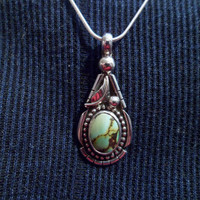 Authentic Navajo Native American Southwestern vintage-traditional style sterling silver turquoise teardrop pendant/necklace.