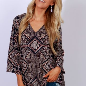 Navy & Plum Print Long Sleeve Top