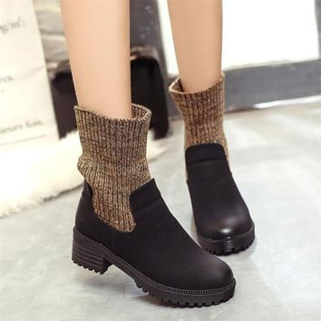 Winter Boots Women Fashion Ro2018h Elastic Martin Boots Shoes Woman High Quality Leather Women Boots botas ug australia mujer