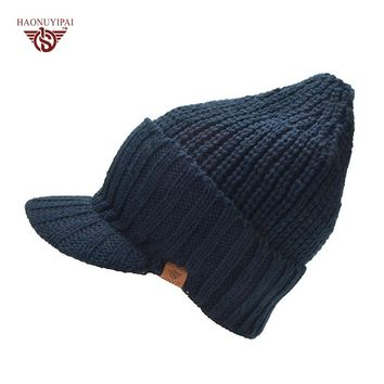 Winter Warm Wool Knitted Hats With Brim Brand Outdoor Ear Protection Beanies Cap Ski cap