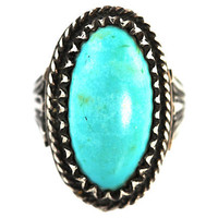 Navajo Turquoise Ring Sterling Silver Sky Blue