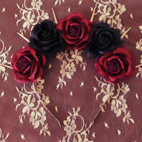 Lovecraft- Pastel goth black and burgundy red roses flower crown with silver spikes