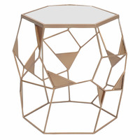 Gwen Mirrored End Table, Bronze