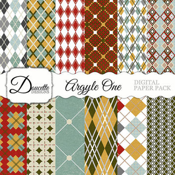 Instant Download-Argyle One Pattern Rustic Cottage Retro Bohemian Vintage Chic Digital Scrapbooking Paper Pack Personal and Commercial Use