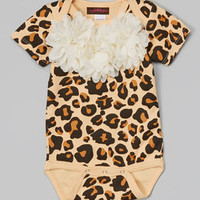 MyLolliflops Tan & Off-White Leopard Chiffon Flower Bodysuit - Infant | Something special every day