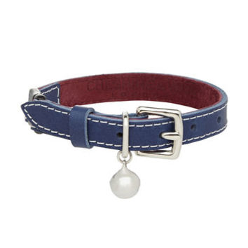 Stitched Navy Cat Collar With Safety Catch