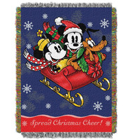 Mickey's Sleigh Ride  Woven Tapestry Throw (48inx60in)