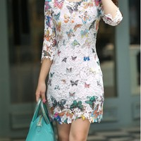 Butterfly Print Three Quarter Sleeve Lace Dress - USD $35.49