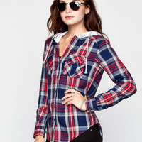 Ali & Kris Womens Hooded Flannel Shirt Blue Combo  In Sizes