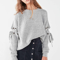 UO Nadine Lace-Up Sleeve Sweater | Urban Outfitters