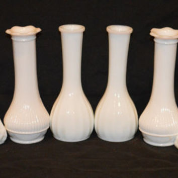 "Lot of 8-6"" Milk Glass Bud Vases"