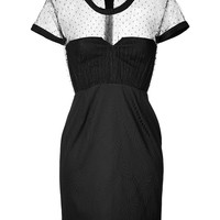 The Kooples - Short Sleeve Dress with Sheer Dotted Swiss Top