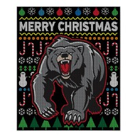 Bear Ugly Christmas Sweater Wildlife Series Poster
