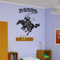 Wall Vinyl Sticker Decals Decor Art Bedroom Design Mural Design Cowboy lasso Noose Rodeo Horse (z411)