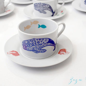 Hand designed Cup & Saucer Set, Blue, teal and peach fish red ships and starfish, sea urchins, peach seahorse, nautical theme, ocean, bay