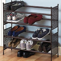 Storage Rack Organizer Shoe Handbag Clothes Expandable 2 Tier Shelf Closet Stand