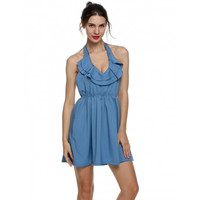 Sexy Women Halter Ruffles V-Neck Backless Pleated Mini Dress