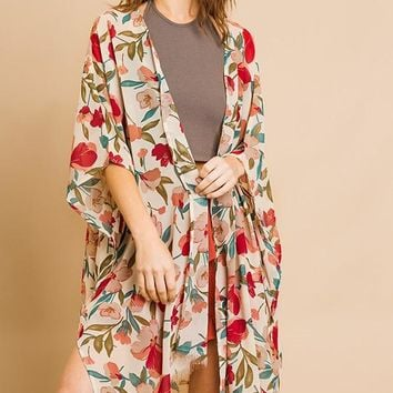 Sheer Floral Print Long Kimono w/ Bell Sleeves