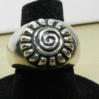 1980s Heavy Solid Sterling Silver Band Ring - Size 6.5 Swirl Sunflower Ring Unisex Ring Jewelry Jewellery