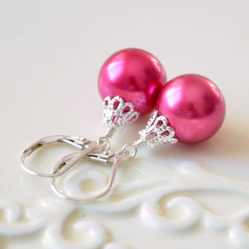 NEW Hot Pink Christmas Earrings, Holiday Jewelry, Ball Ornament, Glass Pearl, Lever Earwires, Wire Wrapped, Sterling Silver, Free Shipping