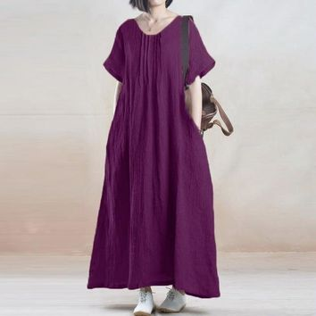 Women's Cotton Casual Loose Summer Maxi Dress with Short Sleeves.   In Sizes From Medium to 5XL.   Colors: Wine Red, Purple and Black.   ***FREE SHIPPING***