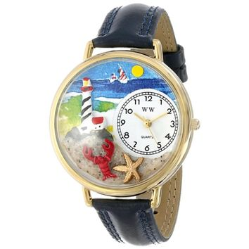 SheilaShrubs.com: Unisex Lighthouse Navy Blue Leather Watch G-1210013 by Whimsical Watches: Watches
